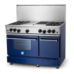 "48"" BlueStar RNB Gas Range - Cobalt Blue (RAL 5013) RNB 48"" Gas Range has 4 Top Burners with Charbrolier and Griddle."