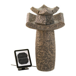 KOOLEKOO - Outdoor Temple Solar Water Fountain - Graceful Asian fountain has the authentic look of hand-hewn stone; a dramatic addition to your outdoor dcor! Place this dual powered fountain anywhere you please: Solar panels for cord-free enjoyment, or an electrical plug for shady locations or overcast days. Ingenious!