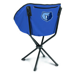 """Picnic Time - Memphis Grizzlies Sling Chair in Navy - The Sling Chair by Picnic Time is a portable, folding chair you can take anywhere. The chair opens to 20"""" wide x 14"""" deep x 30"""" high. No loose parts It's so compact and convenient, you may just want to keep it in the trunk of your car!; Decoration: Digital Print; Includes: 1 nylon drawstring carry bag"""
