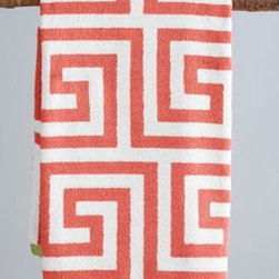 Garnet Hill - Garnet Hill Greek Key Bath Towels - Bath Towel - Coral Greek Key - You can never go wrong with this jacquard-woven motif inspired by classic Greek design. Contrast white ground. Soft and absorbent Egyptian cotton. 600 grams. Monogramming available.