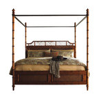 Tommy Bahama Home - Tommy Bahama Home Island Estate West Indies Poster Canopy Bed - Tommy Bahama Home - Beds - 010531163C - The Island Estate West Indies Poster Canopy Bed is constructed from Maple veneers and select hardwood solids in a lightly distressed warm umber tone Plantation finish. Available in queen king and California king sizes this poster canopy bed features woven cane panels Chippendale inspired pierced lattice work two-height position turned posts with simulated bamboo nodes and a metal canopy frame. Distinctly coastal in style the Island Estate West Indies Poster Canopy Bed is the ideal central fixture in your private space. Inspired by tropical design elements the Island Estate Collection by Tommy Bahama Home has a unique combination of natural materials textures and rich new finishes. Lightly distressed warm umber tones with custom designed hardware in an antique brass finish accentuate the British Plantation and refined Caribbean styling. Designed for an elegant yet casual and cool lifestyle the Tommy Bahama Home Island Estate Collection offers the appeal of an exotic island environment.
