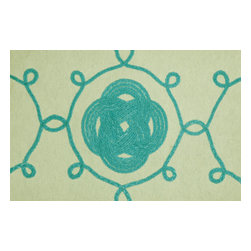 Trans-Ocean - Ornamental Knot Aqua Mats 4143/14 - The highly detailed painterly effect is achieved by Liora Mannes patented Lamontage process which combines hand crafted art with cutting edge technology.The 100% Polyester face, and 100% Recycled Rubber non-skid backing make this suitable for Indoor or Outdoor use and easy to clean.The low profile nature of these Lamontage mats is ideal for use in front of doors or in the kitchen, and the fun designs will bring excitement to any room of the house.