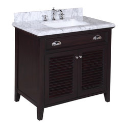 Kitchen Bath Collection - Savannah 36-in Bath Vanity (Carrara/Chocolate) - This bathroom vanity set by Kitchen Bath Collection includes a chocolate colored cabinet with self-closing doors, stunning Carrara marble countertop with double-thick beveled edges,undermount ceramic sink, pop-up drain, and P-trap. Order now and we will include the pictured three-hole faucet and a matching backsplash as a free gift! All vanities come fully assembled by the manufacturer, with countertop & sink pre-installed.