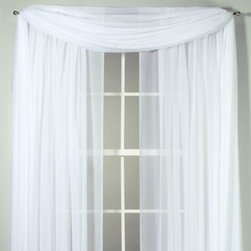 """S. Lichtenberg & Company, Inc. - Voile Sheer Rod Pocket Window Curtain Panel - Sheer panel provides the perfect covering for windows by creating soft, opaque filtered light. Made of French Tergal high twist voile yarns. The scarf adds a simple designer's touch. 100% polyester. Panels are sold individually and are 59"""" W."""