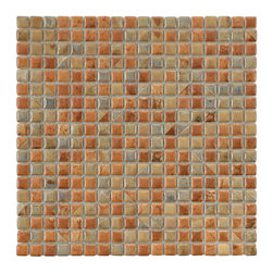 Somertile - SomerTile 12x12-in Samoan 9/16-in Tundra Beige Porcelain Mosaic Tile (Pack of 10 - Create a modern look to any area with this porcelain mosaic tile set from SomerTile. These gleaming tiles in warm orange,brown,and tan tones create a cozy feel,while the low water absorption rate makes them ideal for inside and outside the home.