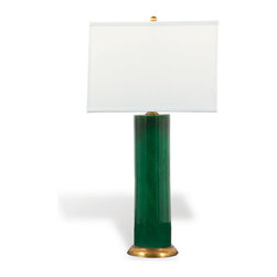 Port 68 - Melrose Lamp, Emerald - Rich color and eye-catching design combine in the sophisticated Melrose Lamp. Featuring a white square shade and deep, saturated emerald tone accented with a solid brass base and metal ball finial, this porcelain cylinder lamp works well in transitional home decor. 100 watt maximum, 3-way switch.   UL Listed.