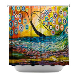 DiaNoche Designs - Shower Curtain Artistic - Abstract Blossom III - DiaNoche Designs works with artists from around the world to bring unique, artistic products to decorate all aspects of your home.  Our designer Shower Curtains will be the talk of every guest to visit your bathroom!  Our Shower Curtains have Sewn reinforced holes for curtain rings, Shower Curtain Rings Not Included.  Dye Sublimation printing adheres the ink to the material for long life and durability. Machine Wash upon arrival for maximum softness. Made in USA.  Shower Curtain Rings Not Included.