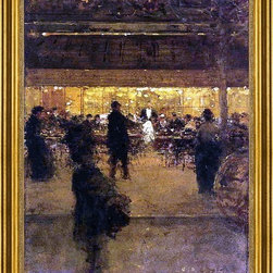"""Luigi Loir-16""""x24"""" Framed Canvas - 16"""" x 24"""" Luigi Loir The Night Cafe framed premium canvas print reproduced to meet museum quality standards. Our museum quality canvas prints are produced using high-precision print technology for a more accurate reproduction printed on high quality canvas with fade-resistant, archival inks. Our progressive business model allows us to offer works of art to you at the best wholesale pricing, significantly less than art gallery prices, affordable to all. This artwork is hand stretched onto wooden stretcher bars, then mounted into our 3"""" wide gold finish frame with black panel by one of our expert framers. Our framed canvas print comes with hardware, ready to hang on your wall.  We present a comprehensive collection of exceptional canvas art reproductions by Luigi Loir."""
