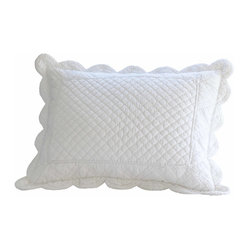Taylor Linens - Laura Standard Sham - A pure white delight! Snowy and sweetly scalloped, this so-soft, hand-stitched pillow sham is a little piece of heaven for your bedroom to make you feel as if you're sleeping on a cloud. Includes pillow insert.