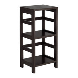 Winsomewood - Leo Shelf / Storage, Book, 2-tier, Narrow - Its two sections hold the Espresso Large Storage Basket or two Small Storage Baskets perfectly. Mix and match with the other Espresso Storage Shelves.
