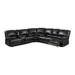 "ACPKevin - 3 pc Kevin cocoa bonded leather sectional sofa with recliners on the ends - 3 pc Kevin cocoa bonded leather sectional sofa with recliners on the ends and overstuffed arms and backs. This set features a sofa with recliners on the ends with overstuffed arms and backs and love seat with center console and recliners on the ends. sofa measures 82"" x 36"" x 39"" H. love seat measures 73"" x 37"" x 39"" H. Corner wedge measures 63"" x 36"" x 39"" H. Optional single recliner also available separately and at additional cost and measures 41"" x 36"" x 39"" H. Some assembly required."