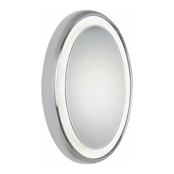 Tech Lighting - Tech Lighting Tigris Oval Mirror Surface - Oval mirror surrounded by a cove of diffused white light. Plated pressure formed frame. Provides shadow-free task and ambient light.