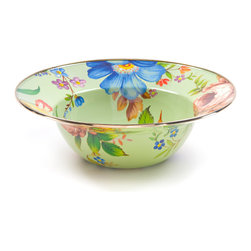 Flower Market Enamel Serving Bowl - Green | MacKenzie-Childs - At last, a serving bowl that's equal to summer's freshest picks from the garden or orchard. The handy size is ideal for summer salads. Color glazed in black, blue, green, white or plum, each Flower Market Enamel Serving Bowl is decorated with hand-applied fanciful botanical transfers that recall a lush English garden in the peak of summer. Pair with our Flower Market Enamel Platter for a gift that's not likely to see the inside of a cupboard anytime soon.