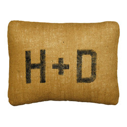 Kathy Kuo Home - Rustic Burlap Custom Initial Pillows - Designed by a husband and wife team, our luxurious down filled pillows are inspired by the ones we love.  Motifs comes from family, nature, animals, old things, children's art and folk art.  All throw pillows are made with love here in the Blue Ridge Mountains of North Georgia.