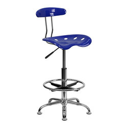 Flash Furniture - Flash Furniture Chrome Drafting Stool in Blue - Flash Furniture - Drafting Chairs - LF215NAUTICALBLUEGG - Quality chair at an amazingly affordable price! This sleek modern stool conforms to several areas in the home or office. The molded tractor seat offers great comfort. The height adjustable capability of this stool allows you to use the stool at the dining table and bar table and anywhere in between.