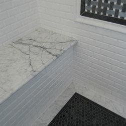 KM - Classic Tile and Mosaic, CTM Tile, Basketweave Mosaic Moonstone Marble Basalt, Crystal White Marble Polished Finish, 12x12 Carrara Polished, Marble Countertop, 3x6 Beveled Ceramic Wall Tile White, 1x1 Basalt Polished Hexagon Mosaic,  traditional
