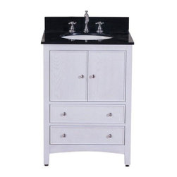 Westwood 24 in White Washed with Granite Top in Black - The Westwood 24 in. vanity exudes the modern aesthetic of