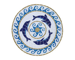 Glass Tile Oasis - Large Multi Color Medallion Pool Accents Multi Color Pool Glossy Ceramic - We offer six lines of in-stock designs ready for immediate delivery including: The Aquatic Line, The Shadow Line, The Hang 10 Line, The Medallion Line, The Garden Line and The Peanuts Line. All of the mosaics are frost proof, maintenance free and guaranteed for life. Our Aquatic Line includes: mosaic dolphins, mosaic turtles, mosaic tropical and sport fish, mosaic crabs and lobsters, mosaic mermaids, and other mosaic sea creatures such as starfish, octopus, sandollars, sailfish, marlin and sharks. For added three dimensional realism, the Shadow Line must be seen to be believed. Our Garden Line features mosaic geckos, mosaic hibiscus, mosaic palm tree, mosaic sun, mosaic parrot and many more. Put Snoopy and the gang in your pool or bathroom with the Peanuts Line. Hang Ten line is a beach and surfing themed line featuring mosaic flip flops, mosaic bikini, mosaic board shorts, mosaic footprints and much more. Select the centerpiece of your new pool from the Medallion Line featuring classic design elements such as Greek key and wave elements in elegant medallion mosaic designs.