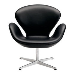 Swan Chair   DWR - Designed by Arne Jacobsen in 1958, the Swan Chair is the perfect occasional chair when you are looking to add a dash of color, some curves, and a bit of sculpture to a room. An added bonus: It swivels.