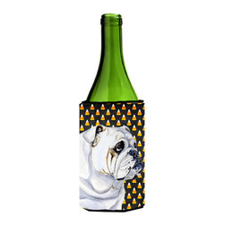 Caroline's Treasures - Bulldog English Candy Corn Halloween Portrait Wine Bottle Koozie Hugger - Bulldog English Candy Corn Halloween Portrait Wine Bottle Koozie Hugger Fits 750 ml. wine or other beverage bottles. Fits 24 oz. cans or pint bottles. Great collapsible koozie for large cans of beer, Energy Drinks or large Iced Tea beverages. Great to keep track of your beverage and add a bit of flair to a gathering. Wash the hugger in your washing machine. Design will not come off.
