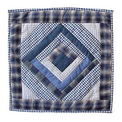 Patch Magic - Blue Log Cabin Toss Pillow - 16 in. W x 16 in. L. 100% Cotton. Machine washable.. Line or flat dry onlyDecorative applique Quilted Pillow.