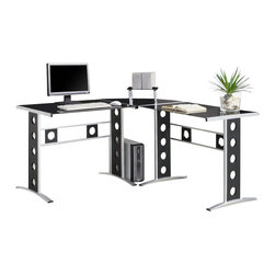"Coaster - Coaster Modern L Shape Desk with Silver Frame & Black Glass - Coaster - Computer Desks - 800228 - Create a cool contemporary work station in your home with this L shape desk. With its sleek silver colored frame and black glass tabletop this desk will bring just the right pop of modern personality into your decor. From compact laptop table on wheels to large """"L"""" shaped office workstation this collection has a desk that you will love. Enjoy comfortable computing and working from home with one of these cool desks."