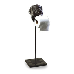 Dog Paper Stand - A necessity doesn't necessarily have to be boring. The Dog Paper Stand adds a touch of whimsy to your master bath, powder room, or guest accommodations. Crafted of sturdy bronze iron, the stand features a square base generously sized for definite stability; the finely sculpted dog head portrays man's best friend in loving detail.