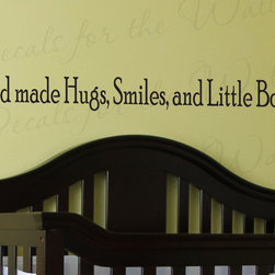 Decals for the Wall - Wall Decal Vinyl Quote Sticker Large God Made Hugs Smiles and Little Boys K58 - This decal says ''God made hugs, smiles, and little boys!''