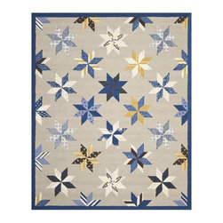Martha Stewart - Martha Stewart Lemoyne Star Azurite Blue Wool Rug (8' x 10') - A beloved traditional quilt design named for two brothers who settled in Louisiana in 1699,Lemoyne Star is artfully updated for todays casual bedrooms and family rooms.
