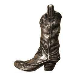 Anne At Home - Boot - Small Left Knob (Set of 10) - Hand cast and finished. Made in the USA. Pewter with brass insert. 2 in. L x 2.75 in. W x 1 in. H