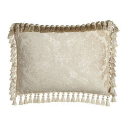 Isabella Collection by Kathy Fielder - Isabella Collection by Kathy Fielder Standard Damask Sham with Tassel Trim - Bed linens in a soothing palette of ivory and beige bring opulent style to your bedroom. Decorative pillows and fancy trimmings add to the luxe presentation. From Isabella Collection by Kathy Fielder. Dry clean. Collection is made in the USA of importe...