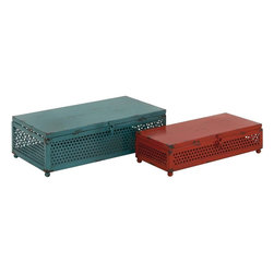 """Benzara - Creative Styled Fancy Metal Box - Are you in the search for something that is vintage for storage purposes? Then your search ends here. Presenting this unique set of 2 boxes are available in two different sizes and a features a rusty features adding to its antique trunk appeal and a comfortable knob for easy opening and closing. These boxes will not only help you tidy up your home but will also spruce up any space or ambience with its uniqueness. Your guests and visitors will be awestruck at this sight of this wonderful storage boxes.These set of boxes are easy to clean and very durable. They can suit any space and will consume less space. You can also present it to your near and dear ones, they will surely appreciate this one of a kind storage container. So don't wait and get one now. This storage boxes measures 13 inch (W) x 11 inch (h); Made of metal; Rusty features with comfortable handles; Dimensions: 14""""L x 8""""W x 5""""H"""