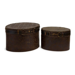 "IMAX - Equestrian Boxes - Set of 2 - Charming western style set of 2 decorative boxes featuring an equestrian inspired buckle detail.   Item Dimensions: (8.5-9.75""h x 12.25-15.25""w x 8.5-11.5"")"