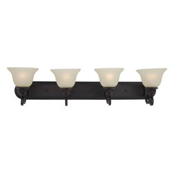 Joshua Marshal - Four Light Oil Rubbed Bronze Soft Vanilla Glass Vanity - Four Light Oil Rubbed Bronze Soft Vanilla Glass Vanity