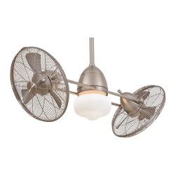 "Frontgate - Gyro Wet Ceiling Fan - 42"" blade sweep with 20-degree blade pitch. Integrated globe light with one 100-watt mini-can halogen bulb (included). Includes wall control system and cap for non-light use. Also includes 3-1/2"" and 6"" downrods in matching finish. Lifetime manufacturer's motor warranty for the original purchaser or user. Our Gyro Wet Ceiling Fan employs two high-performance turbofans that are gently rotated 360 degrees, providing complete air movement for your chosen space. The turbofan heads adjust for up and down movement, and a wall control system incorporates fully independent fan head and axis rotation speeds. It's rated for dry, damp, and wet locations indoors or outdoors, making it the perfect way to cool any space. Includes an etched schoolhouse globe light kit.  .  .  .  . Lifetime manufacturer's motor warranty for the original purchaser or user . Indoor/outdoor use . Some assembly required . UL listed ."