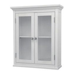 Madison Avenue Wall Cabinet with 2 Doors - Keep the stuff but the curb the clutter with the Madison Avenue Wall Cabinet with 2 Doors. Simple yet stylish this handy wall cabinet has a crisp white finish that blends with any decor. It features two clear glass-paned doors that open with twist-operated silver latches for quick and easy access to two adjustable shelves. Recessed side paneling and elegant crown molding enhance the refined yet casual style. The Madison is constructed of MDF wood laminate a strong and dense engineered wood product.