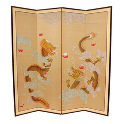 Oriental Furniture - 6 ft. Tall Dragons Playing Room Divider - Dragons are a powerful positive symbol in the east, and this Dragons Playing motif is very finely rendered. Note that no two renderings are exactly the same. Subtle, beautiful hand painted wall art.