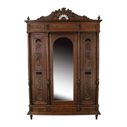 EuroLux Home - Consigned Antique French Armoire Heavily Carved - Product Details: