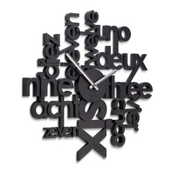 Umbra Lingua Wall Clock - I like the uniqueness of this clock that shows a play with words in various languages.
