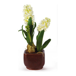 Nearly Natural - Hyacinth with Glazed Pot Silk Flower Arrangement - This vibrant and cheerful silk Hyacinth plant will have everyone doing a double take. It exudes a spring time bliss that will add a sense of brightness and shine to any room in your home. This 17' beauty has two exquisite stems of flowers that sit in a lovely glazed pot. Bring it home and brighten your day. Color: White, Height: 17', Vase: 5.5' W, * 5' H