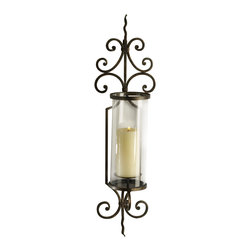 "Silver Nest - Sylvia Wall Candleholder- 30""h - Fill that empty wall in your foyer with the Sylvia Wall Candleholder. Metal has a rusted look to the finish, taper candle not included."