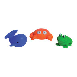 Set of 3 Squirter Sea Life Animals Childish Multicolor - This set of 3 squirting sea life animals Childish is in PVC with a frog, a crab and a whale. Their bright colors and squeaks make them perfect for the bath! Submerge them in water to fill them up, and then give them a squeeze to release a stream of water! They do not hold water which helps prevent black mold. Phthalate free PVC. Ages 6 months and up. Color blue, orange and green. Clean with warm soapy water. Length 2.36-Inch, width 2.16-Inch and height 1.77-Inch. Add these funny floating children toys in your bathtub and stimulate your child's senses while washing them clean! Complete your Childish decoration with the other products of the same collection. Imported.