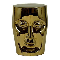 Urban Trends Collection - 18 in. Gold Face Ceramic Garden Stool - 12 in. W x 12 in. L x 18 in. H