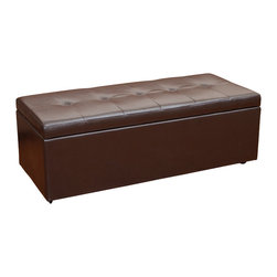 Great Deal Furniture - Eldon Chocolate Brown PU Leather Storage Ottoman - The Eldon Storage Ottoman is fully covered in beautiful chocolate brown PU leather and stands on espresso stained legs. The storage space is convenient for all for storing extra blankets, pillows or toys and the soft button tufted padded top provides comfortable extra seating when needed.