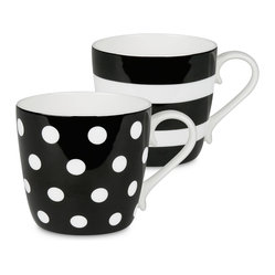 Konitz - Colors Set of 2 Mugs Black Dots and Stripes - If you're two for tea — or coffee, of course — serve it up in these bone china beauties. The pair of mugs is delicately curved and simply patterned for the ultimate in everyday luxury.