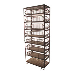 Kathy Kuo Home - Industrial Loft Large Commissary Mesh Basket Storage Cabinet - Make a bold storage statement with this large-and-in-charge iron commissary cabinet. Seven large removal metal mesh bins go to work to store anything from kitchen pantry items to office supplies. Or complete your industrial loft bedroom with this antique finish stowaway for jeans and sweaters. There's even an open shelf on the bottom for his shoes.