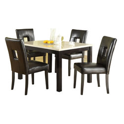 Homelegance - Homelegance Archstone 5 Piece 48 Inch Dining Room Set with Black Chairs - Contemporary design, sleek seating and the combination of black finish with white accents are all the ingredients you need to create a stylish setting for exceptional dining. The white faux marble top pairs perfectly with a cut out center chair back, the color contrast and stylish design create a rich visual enhancement. Chairs are available in white bi-cast vinyl and black bi-cast vinyl.