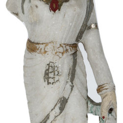 Singh Imports - Consigned Antique Marble Laxmi 2 - This is a 19th century marble carving of Goddess Laxmi. She is Goddess of wealth  and preservation. She is a primary goddess and wife of God Vishnu. She is the power of the universe that preserves and maintain it. She is prosperity and abundance.