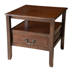 Great Deal Furniture - Noah Wood Short Drawer End Table, Brown Mahogany - With the Noah acacia wood end table, you get the beauty of a smooth finish with the strength of true acacia wood. Perfect as a side table or as a display piece in your living room, bedroom or any other room.