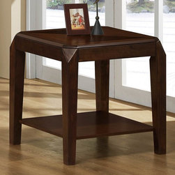Monarch - End Table in Brown Oak Veneer - This end table offers rich design and transitional styling that invites a relaxed setting into your home. Use the open bottom shelf to display your favorite accent pieces or for added storage. Finished in a triangle-designed brown oak veneer top, this clean lined square shaped piece will add a touch of simplicity and class to any home decor.